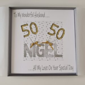 Personalised 50th Birthday Card Husband Grandson Dad Son Wife Daughter Mum ANY COLOUR BALLOONS Age 18th 21st 25th 30th 40th 50 60 (SKU1255)