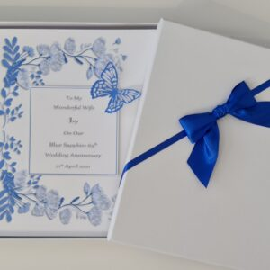 Personalised On Our 65th Sapphire Wedding Anniversary Card Wife Husband Any Relation, Year Or Colour 1st 10th 15th 25th 40th 50th (SKU1252)