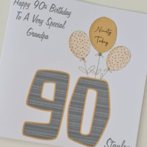 Personalised 90th Birthday Card Grandpa Grandad Pops Dad 40th 50th 60th 70th 80th 100th Any Age, Relation, Colour (SKU1251)