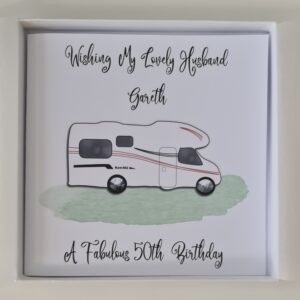Personalised Motorhome Camper 50th Birthday Card Husband Son Brother Daughter Dad Wife Any Person, Age (SKU1249)