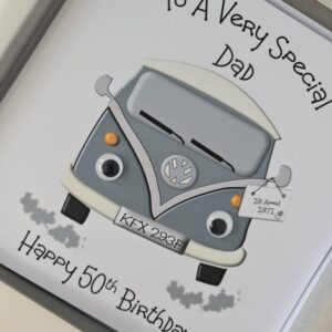 Personalised VW Camper Bay Window 50th Birthday Card Dad Husband Mum Wife Son Brother Daughter Sister Any Person, Age Or Colour (SKU1250)