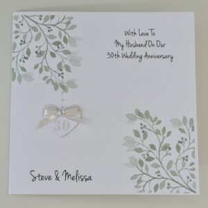 Personalised Pearl 30th Anniversary Card Husband Or Wife 1st 10th 20th 25th 35th 40th 45th 50th 55th 60th Any Colour (SKU1258)