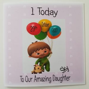 Personalised Cuddlies Baby 1st Birthday Card Daughter Any Relation Or Age (SKU233)
