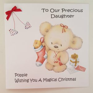 Personalised 8×8 Baby's 1st Christmas Card Daughter Any Relation