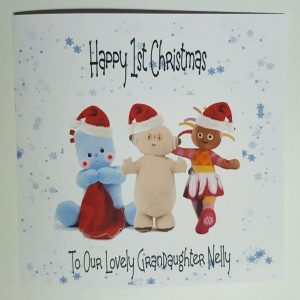 Personalised 8×8 1st Christmas Card Iggle Piggle Night Garden Granddaughter Any Relation