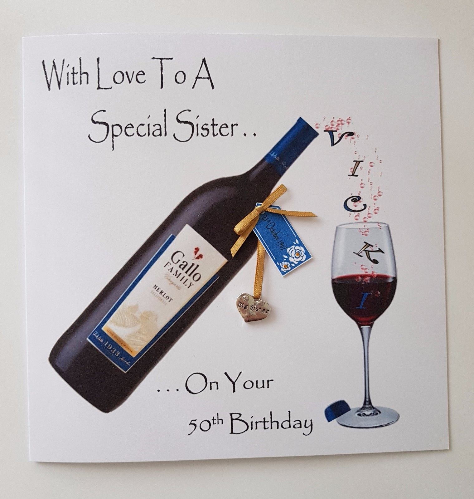 Personalised 50th Birthday Card Big Sister
