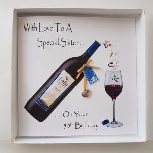 Personalised 50th Birthday Card Big Sister Red Wine Little Sister Middle Sister