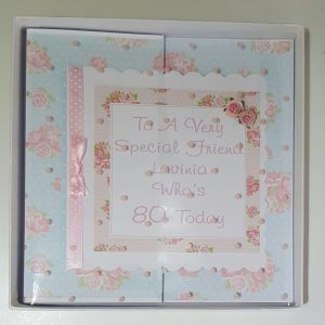 Personalised 8×8 80th Boxed Birthday Card Friend Mum Any Person Any Age Any Colour