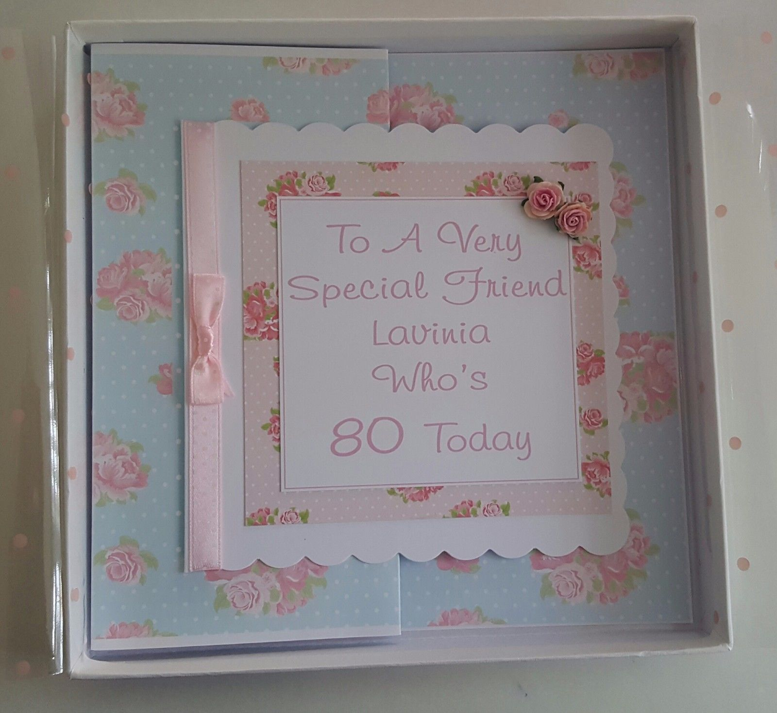 Personalised 80th BOXED Birthday Card