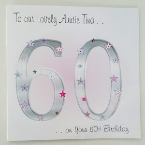 Personalised 8 x 8 60th Birthday Card Auntie Friend Any Relation Any Age Any Colour