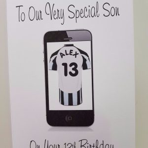 Personalised Football 13th Birthday Card Son Mobile Phone Any Relation, Age Or Team (SKU243)
