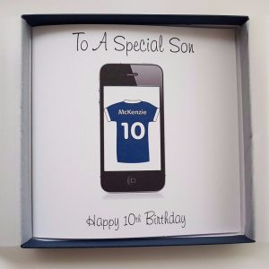 Personalised 8×8 Birthday Card Son Mobile Phone Football Or Rugby Shirt Any Relation Any Age Any Colour