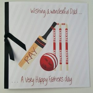 Personalised Fathers Day Card Cricket Theme Any Colour Ribbon (SKU734)