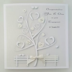 Pretty Personalised 6 x 6 Engagement Card Ivory Wedding Anniversary Any Occasion Any Colour