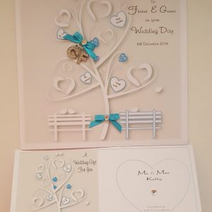 Personalised Turquoise Wedding Card Any Couple, Occasion Or Colour (SKU284)