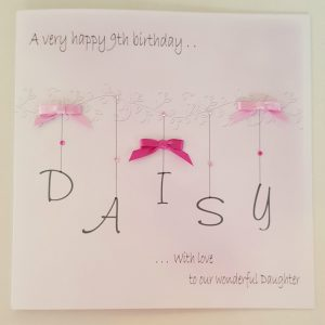 Personalised 8×8 9th Birthday Card Daughter Any Relation Any Age Any Colour