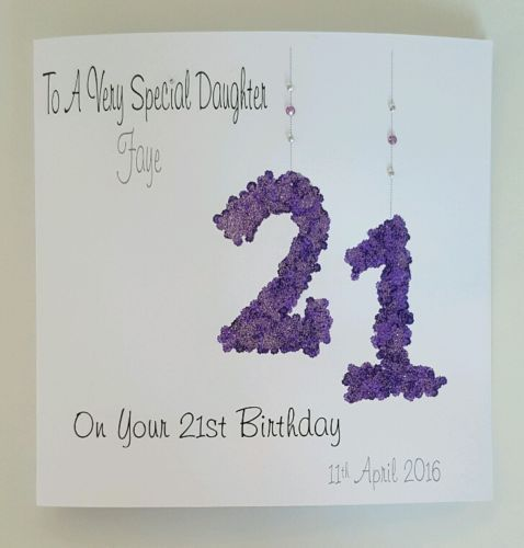 Large Personalised 21st Daughter Birthday Card