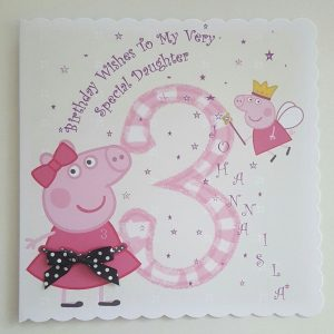 Personalised 3rd Birthday Card Peppa Pig Design Daughter Any Relation Or Age (SKU717)