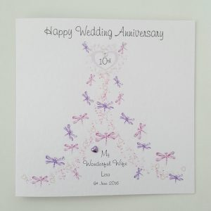 Personalised 10th Wedding Anniversary Card Wife Or Husband Any Year Or Colour (SKU765)