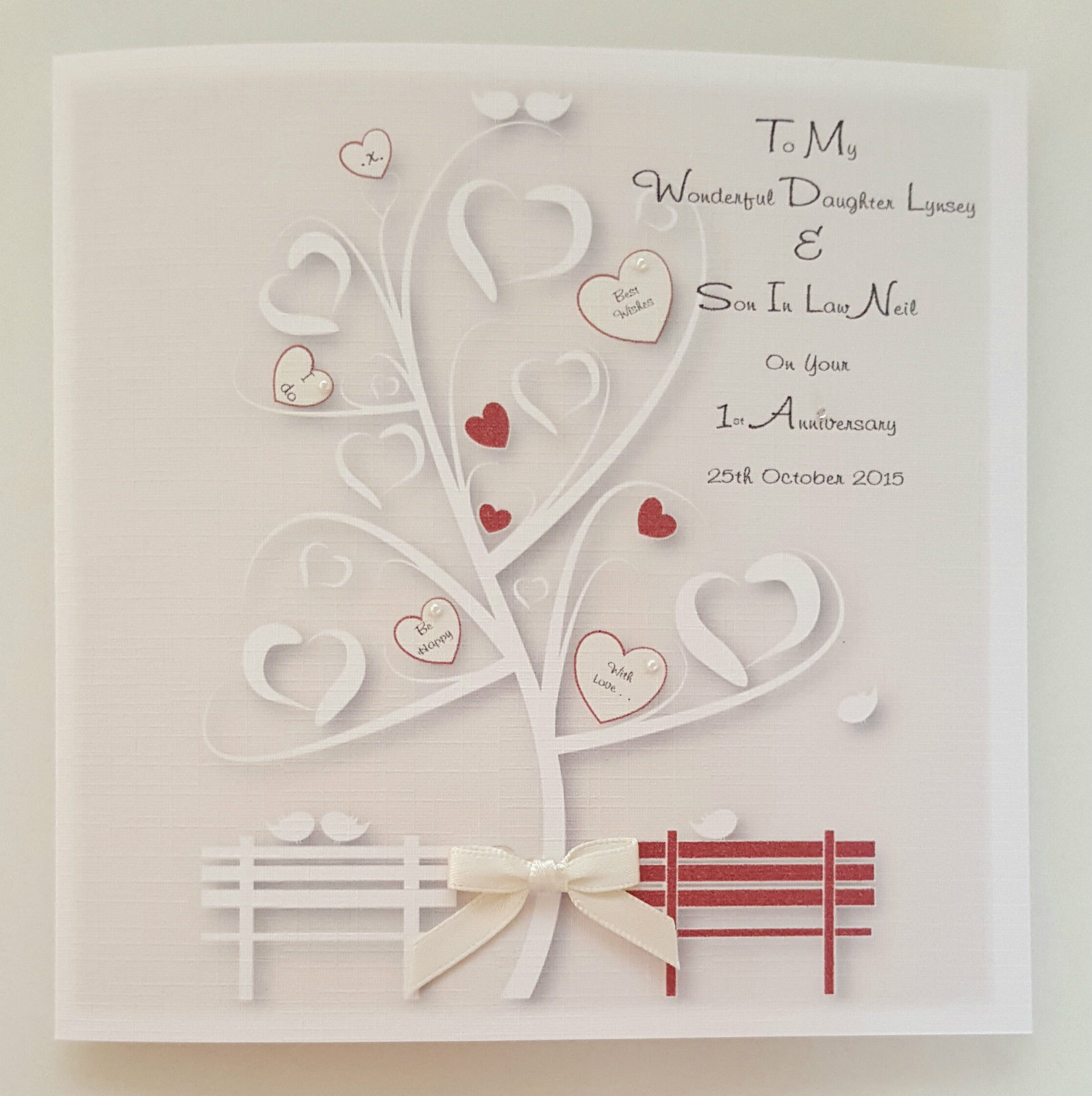 Personalised 1st Wedding Anniversary Card Daughter Son In Law Any