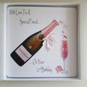 Personalised 21st Pink Champagne Birthday Card Friend Daughter Any Relation, Age Or Tipple (SKU0003)