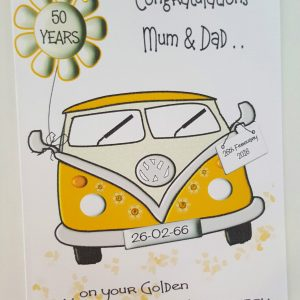 Personalised 8 x 6 50th Anniversary Card VW Camper Mum Dad Any Relation Any Age Any Colour