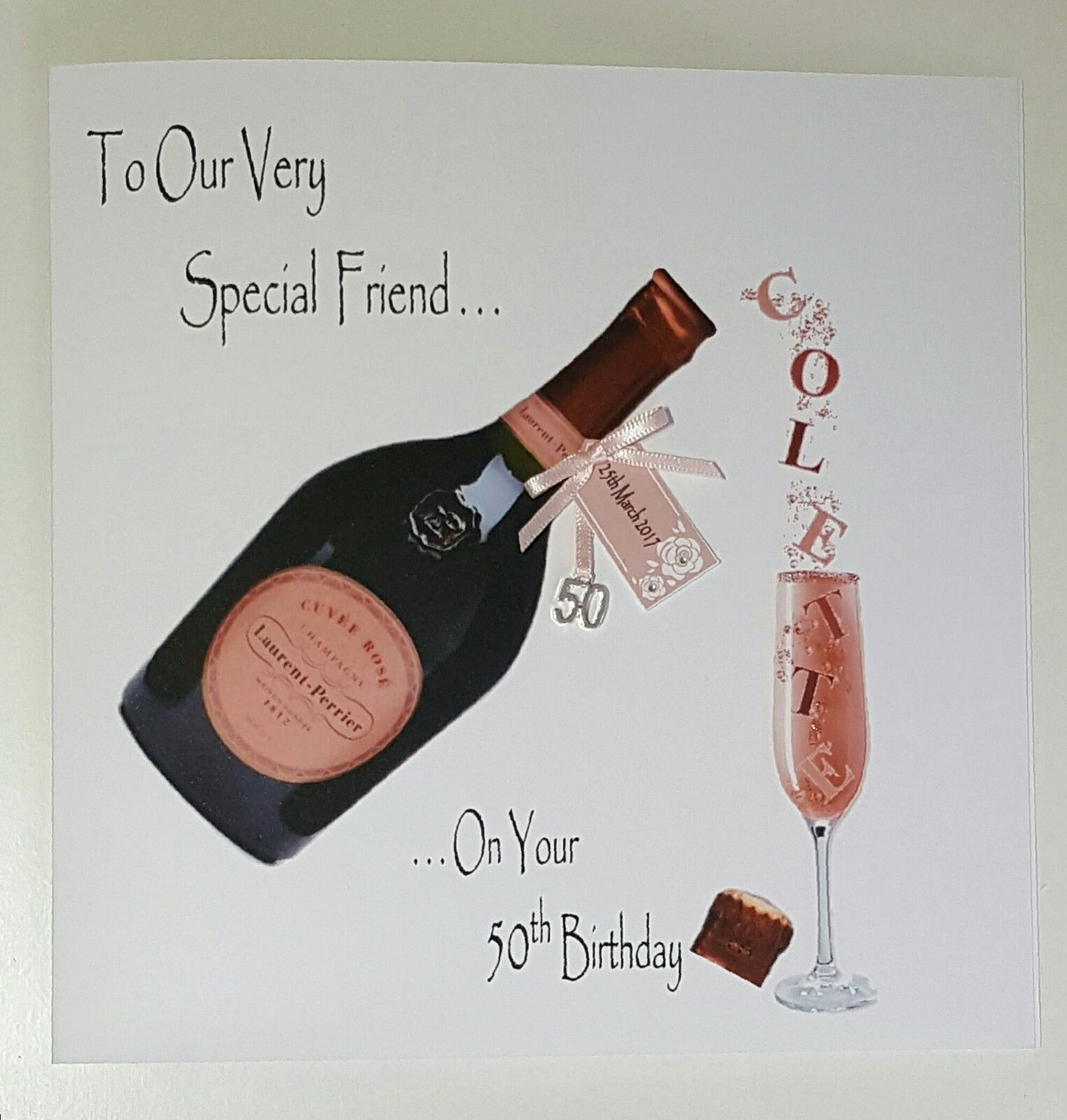 Personalised 50th Birthday Card Champagne Friend