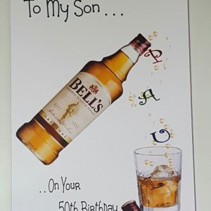 Personalised 50th Birthday Card Whiskey Son Husband Any Relation Any Age Any Tipple