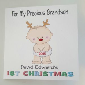 Personalised Baby Boy 1st First Christmas Card Son Nephew Any Relation Any Colour