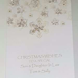 Personalised 8×6 Christmas Card Snowflake Theme Son Daughter Any Relation