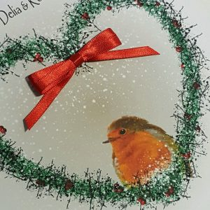 Personalised 8×8 Christmas Cards Robin Design Any Relation Any Person