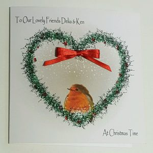 Personalised Christmas Cards Robin Design Friends Mum Dad Daughter Son Nannie