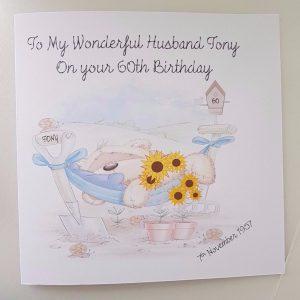 Personalised Husband Birthday Card 40th 50th 60th 65th Dad Uncle Grandad Garden