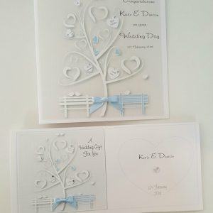 Personalised Pale Baby Blue Wedding Day Card LGBT Any Couple, Occasion Or Colour (SKU288)