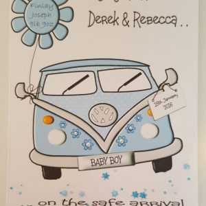 Personalised New Baby Boy Card VW Campervan Theme Any Occasion Any Colour