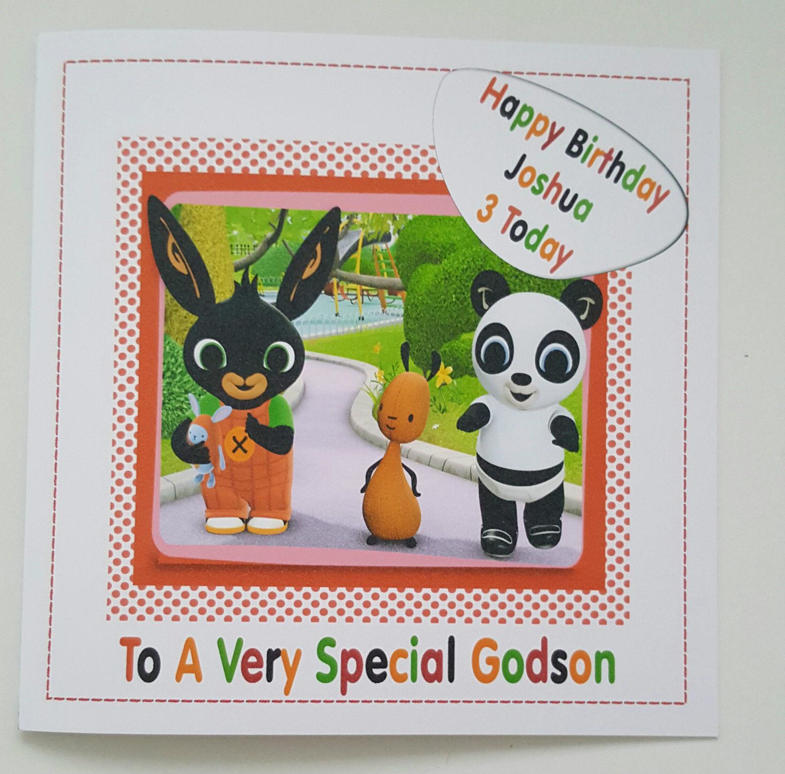 Large Personalised 3rd Birthday Card Bunny Godson