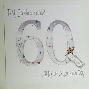 Personalised 8×8 60th Birthday Card Husband Any Relation Any Age Any Colour