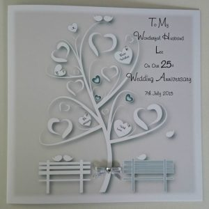 Personalised 8 x 8 Silver 25th Wedding Anniversary Card Husband Wife Any Year Any Colour