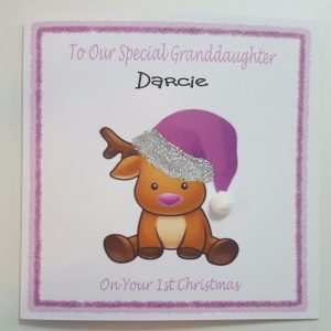Personalised 8×8 1st Christmas Card Granddaughter Any Relation Box Option