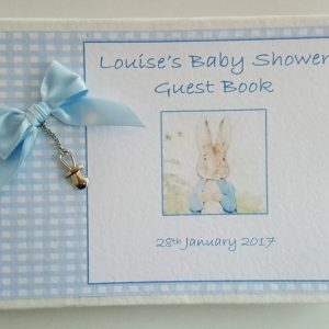 Personalised Guest Book Gift Boxed Baby Shower Boy Girl Beatrix Potter Theme