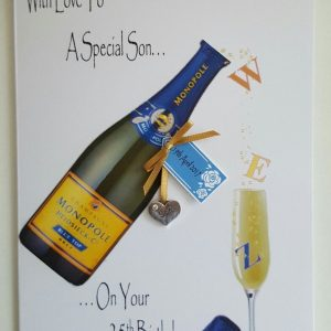 Personalised 25th Champagne Birthday Card Son Any Relation, Age Or Tipple (SKU0005)