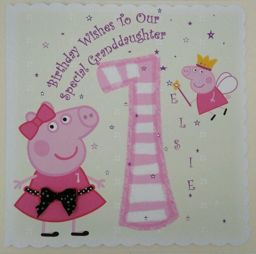 Personalised 1st Birthday Card Peppa Pig Granddaughter
