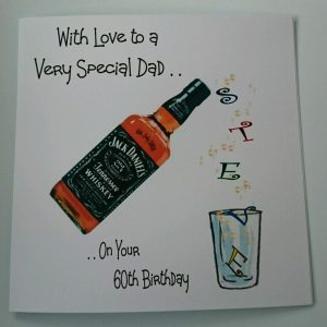 Personalised 8 x 8 60th Birthday Card Dad Jack Daniels Brother Friend Any Relation Any Age