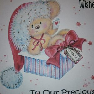 Personalised 8×8 Baby Girl's 1st First Christmas Card Goddaughter Any Relation
