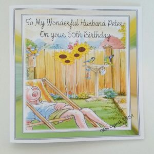 Personalised 8 x 8 65th Birthday Card Garden Theme Any Relation Any Age