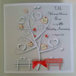 Personalised 35th Coral Wedding Anniversary Card Wife Or Husband Any Year Or Colour (SKU709)