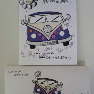 Personalised VW Camper Van Wedding Day Card Any Occasion Or Colour (SKU0046)