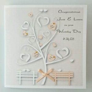 Personalised Wedding Day Card Peach Apricot Any Couple Or Colour (SKU727)