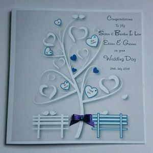 Personalised Wedding Day Card Teal & Purple Sister & Brother In Law Any Colour