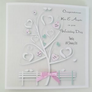 Pretty Personalised 6 x 6 Wedding Day Card Pink Sage Any Relation Any Occasion Any Colour